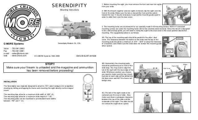 Mounting Instructions C More Serendipity Red Dot Sights Optics Tr
