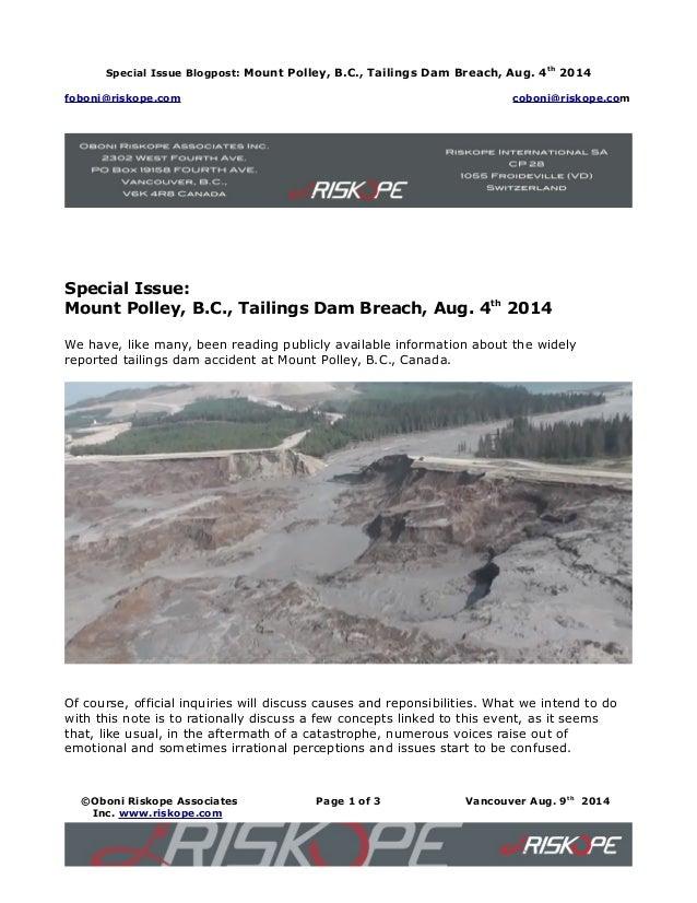 Special Issue Blogpost: Mount Polley, B.C., Tailings Dam Breach, Aug. 4th 2014 foboni@riskope.com coboni@riskope.com Speci...