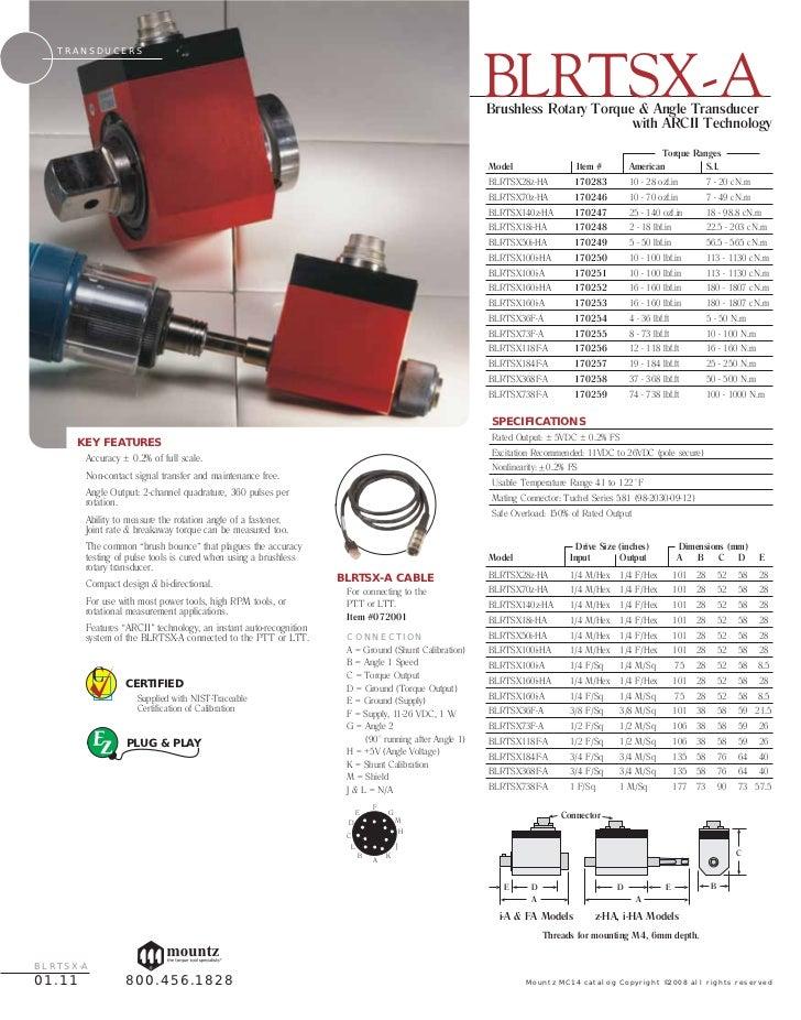 Mountz RTSX100i-A Rotary Torque /& Angle Transducer 10-100 lbf.in ARCII