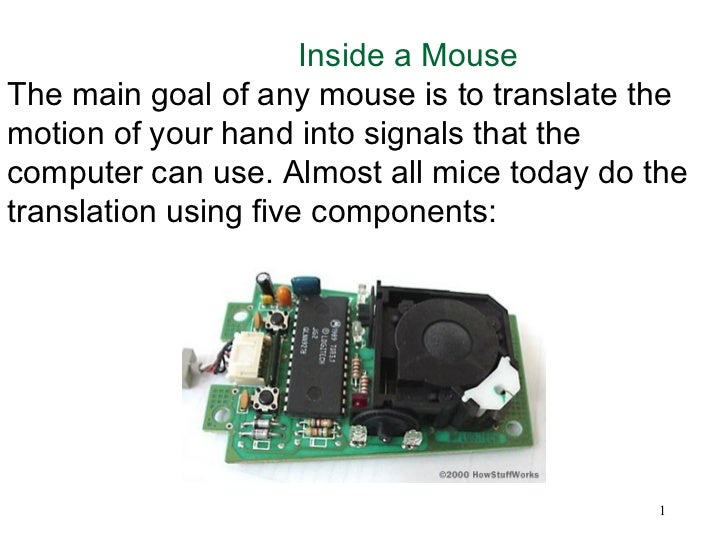 Inside a MouseThe main goal of any mouse is to translate themotion of your hand into signals that thecomputer can use. Alm...