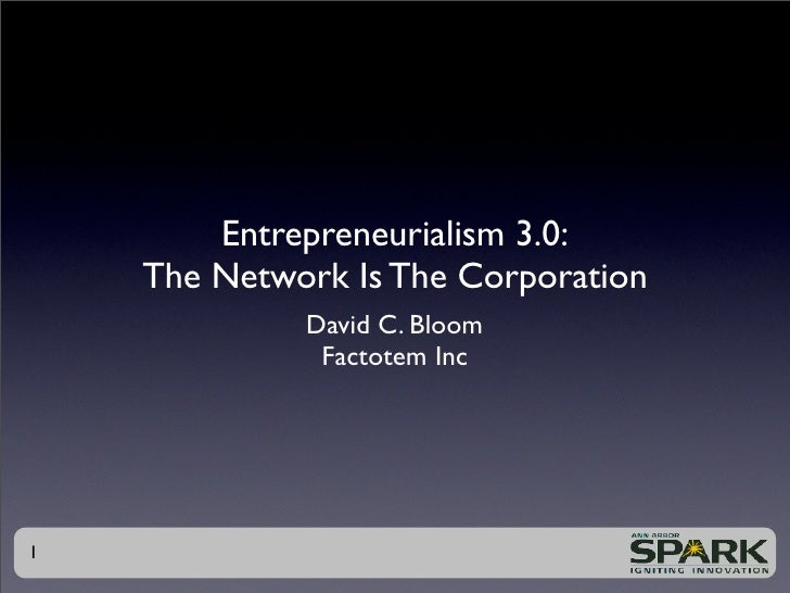 Entrepreneurialism 3.0:     The Network Is The Corporation              David C. Bloom               Factotem Inc     1