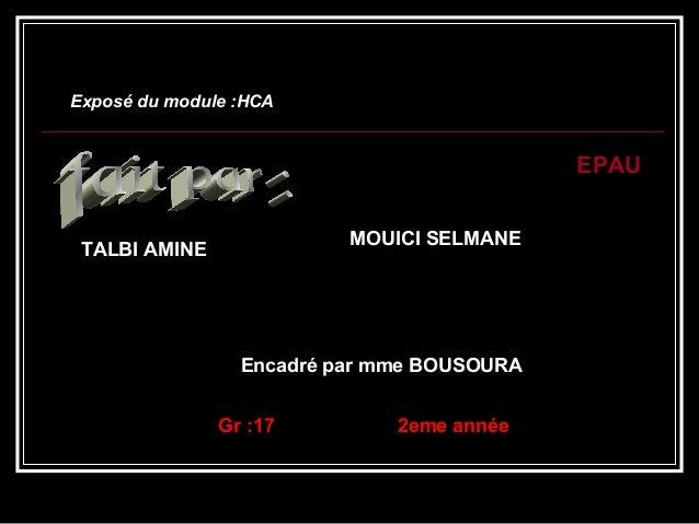 Exposé du module :HCAExposé du module :HCA EPAU Encadré par mme BOUSOURA Gr :17 2eme année TALBI AMINE MOUICI SELMANE