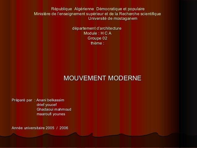 République Algérienne Démocratique et populaireRépublique Algérienne Démocratique et populaire Ministère de l'enseignement...