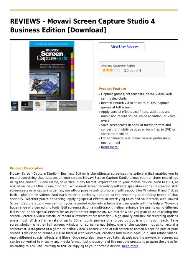 REVIEWS - Movavi Screen Capture Studio 4Business Edition [Download]ViewUserReviewsAverage Customer Rating3.0 out of 5Produ...