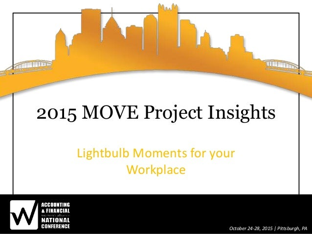 October 24-28, 2015 | Pittsburgh, PA 2015 MOVE Project Insights Lightbulb Moments for your Workplace