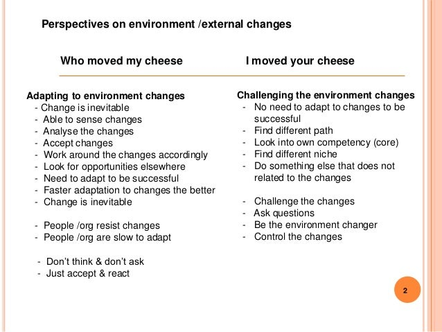 who moved my cheese essay Who moved my cheese essays who moved my cheese tells a story of change, of how we react to it, and the terrible straits we can find ourselves in when we don.