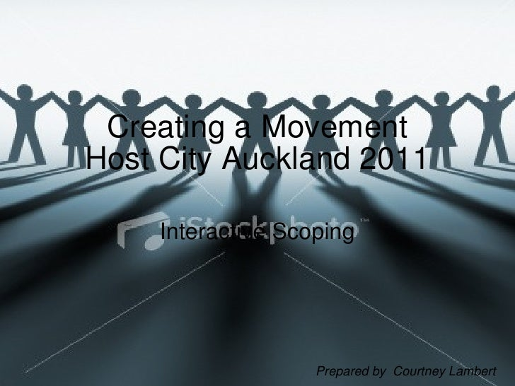 Creating a Movement Host City Auckland 2011 Interactive Scoping Prepared by  Courtney Lambert