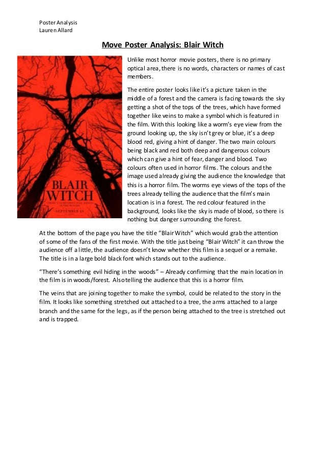 PosterAnalysis LaurenAllard Move Poster Analysis Blair Witch Unlike Most Horror Movie Posters