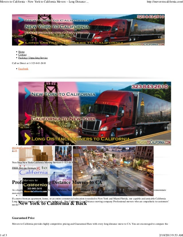 Movers to California – New York to California Movers – Long Distance ...                                                  ...