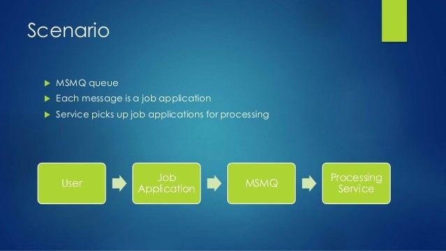 Scenario  MSMQ queue  Each message is a job application  Service picks up job applications for processing User Job Appl...