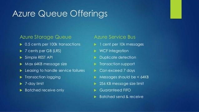 Azure Queue Offerings Azure Storage Queue  0.5 cents per 100k transactions  7 cents per GB (LRS)  Simple REST API  Max...