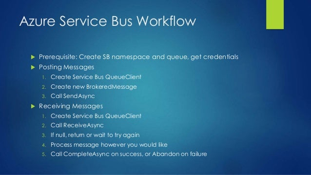Azure Service Bus Workflow  Prerequisite: Create SB namespace and queue, get credentials  Posting Messages 1. Create Ser...