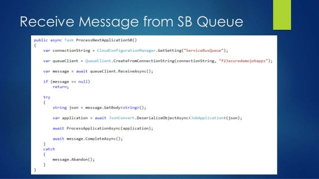 Receive Message from SB Queue