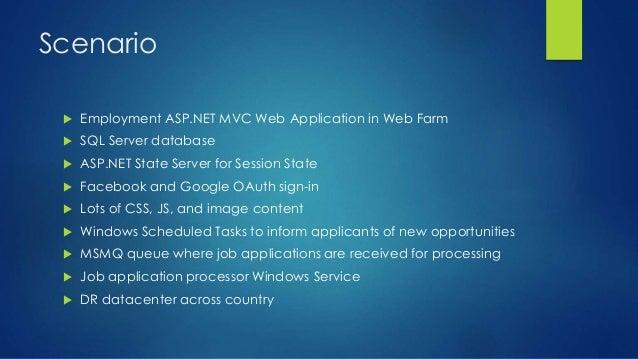 Scenario  Employment ASP.NET MVC Web Application in Web Farm  SQL Server database  ASP.NET State Server for Session Sta...