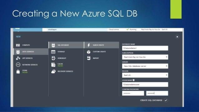 Creating a New Azure SQL DB