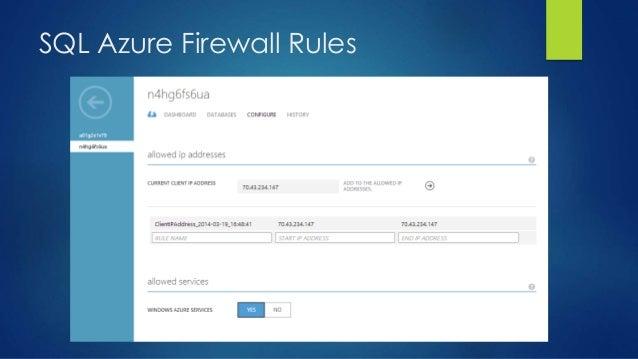 SQL Azure Firewall Rules