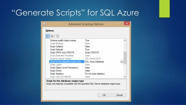 """""""Generate Scripts"""" for SQL Azure"""