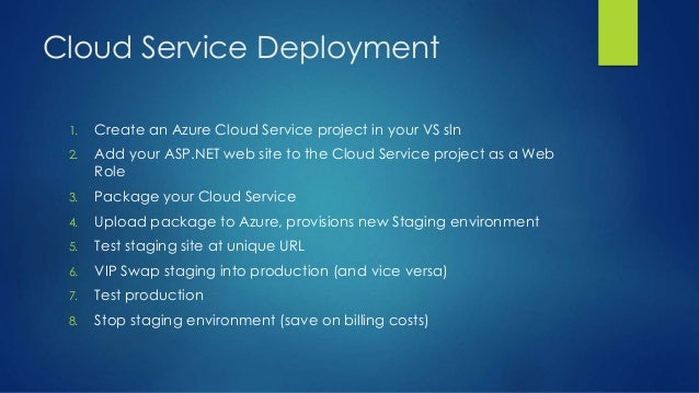 Cloud Service Deployment 1. Create an Azure Cloud Service project in your VS sln 2. Add your ASP.NET web site to the Cloud...
