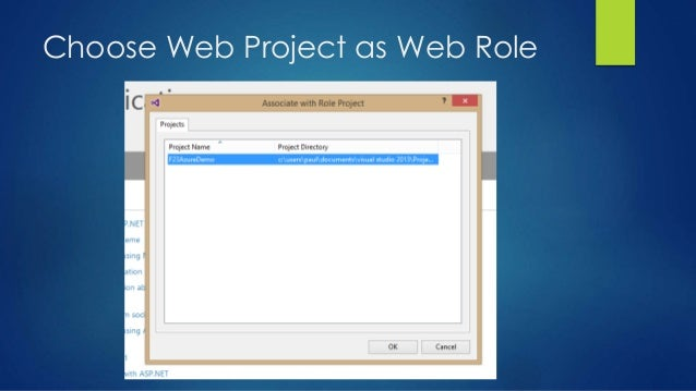 Choose Web Project as Web Role