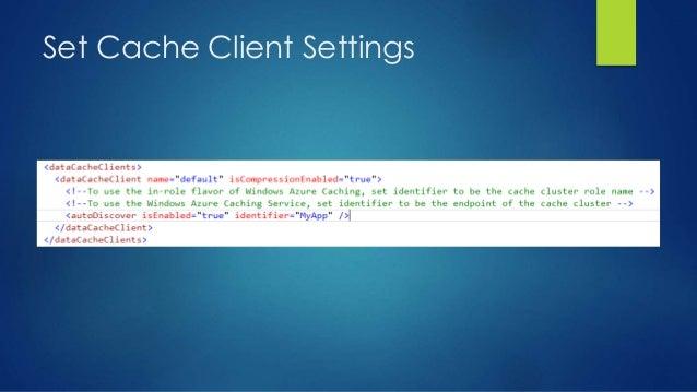 Set Cache Client Settings