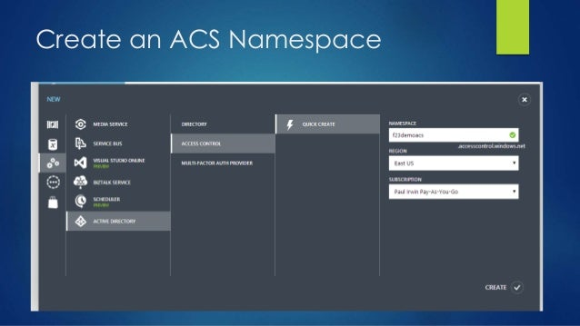 Create an ACS Namespace