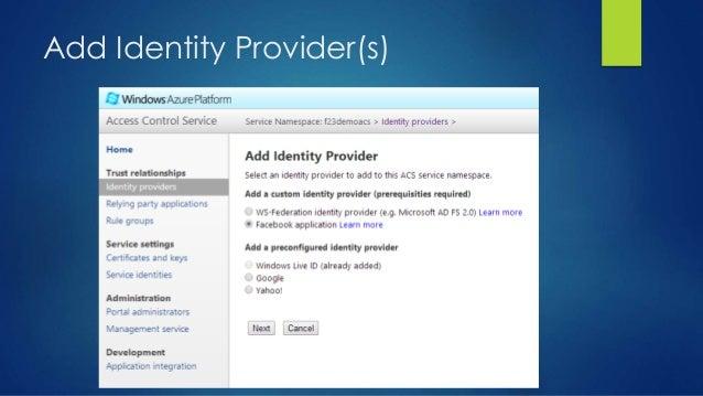Add Identity Provider(s)