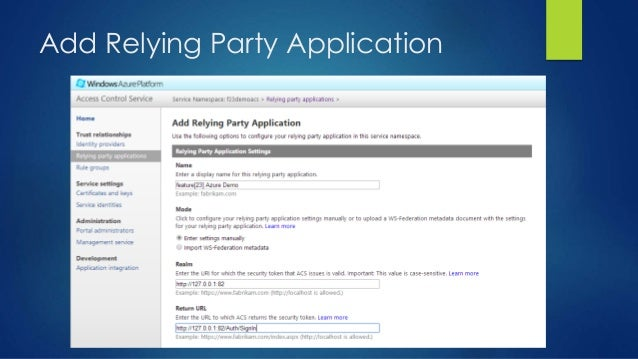 Add Relying Party Application
