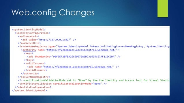 Web.config Changes