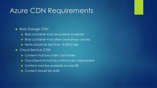 Azure CDN Requirements  Blob Storage CDN  Blob container must be publicly available  Blob container must allow anonymou...