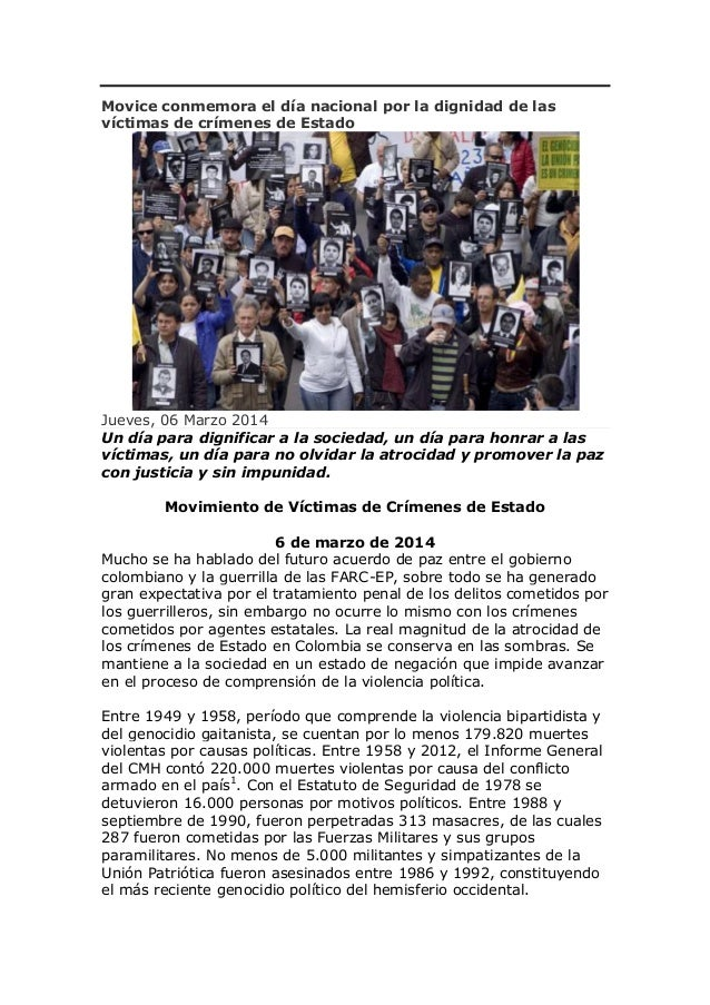 Movice conmemora el día nacional por la dignidad de las víctimas de crímenes de Estado  Jueves, 06 Marzo 2014 Un día para ...
