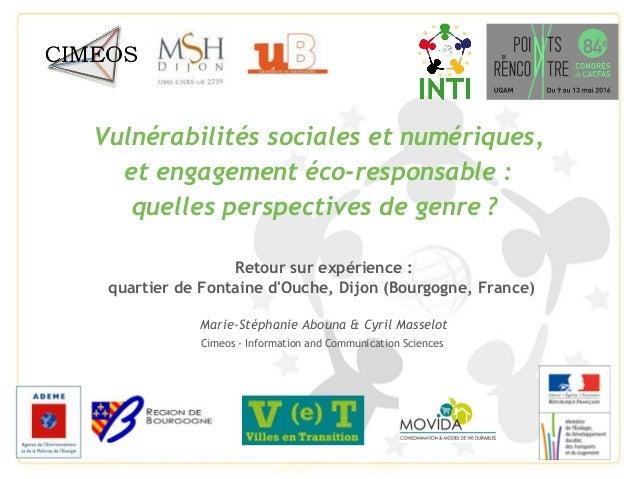 Vulnérabilités sociales et numériques, et engagement éco-responsable: quelles perspectives de genre? Retour sur expérien...