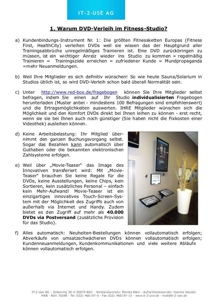 1. Warum DVD-Verleih im Fitness-Studio?a) Kundenbindungs-Instrument Nr. 1: Die größten Fitnessketten Europas (Fitness   Fi...
