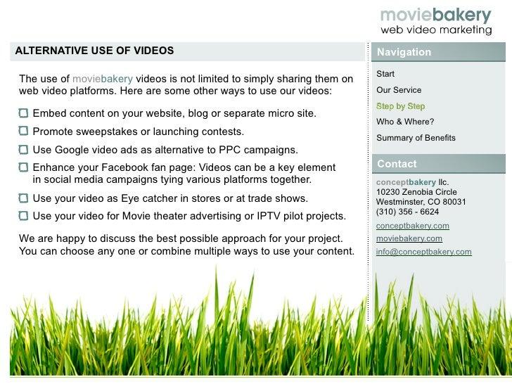 ALTERNATIVE USE OF VIDEOS                                                Navigation                                       ...