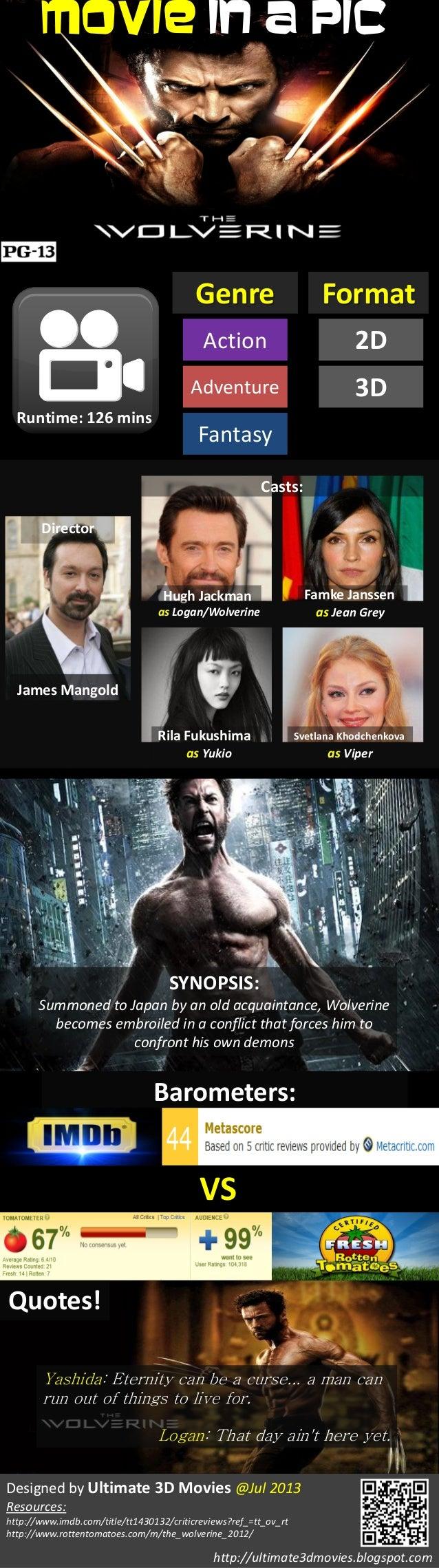 Movie In A Pic Genre Runtime: 126 mins Action Adventure Fantasy Format 2D 3D Director James Mangold Casts: Hugh Jackman Fa...