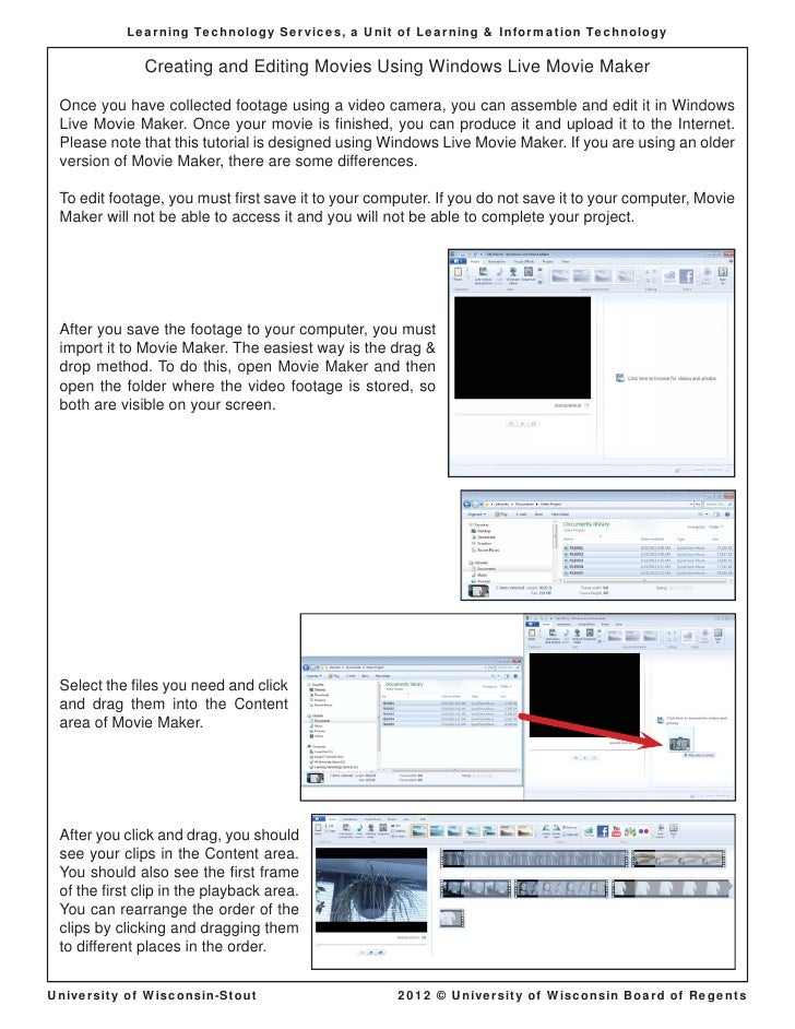 Learning Technology Services, a Unit of Learning & Information Technology              Creating and Editing Movies Using W...