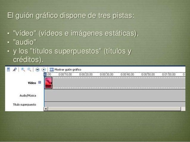 """El guión gráfico dispone de tres pistas:• """"vídeo"""" (vídeos e imágenes estáticas),• """"audio""""• y los """"títulos superpuestos"""" (t..."""