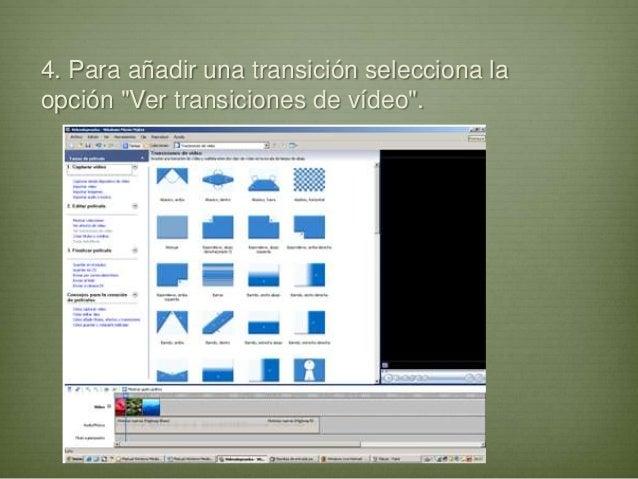 """4. Para añadir una transición selecciona laopción """"Ver transiciones de vídeo""""."""
