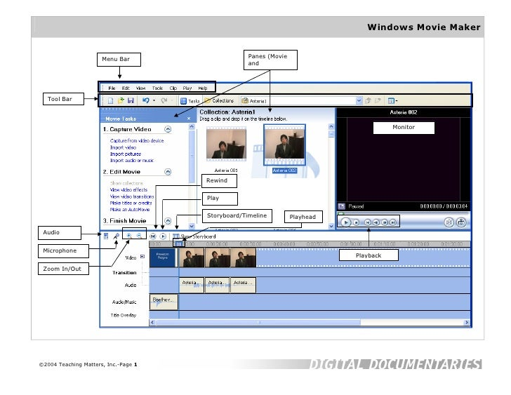Windows Movie Maker                         Menu Bar                     Panes (Movie                                     ...