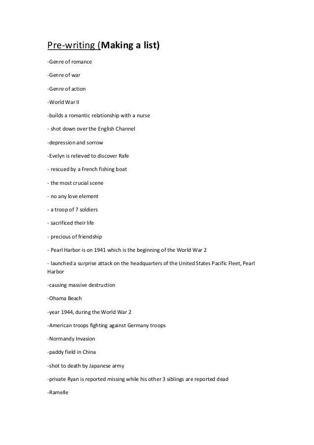 essay pre writing making a list genre of r ce genre of war