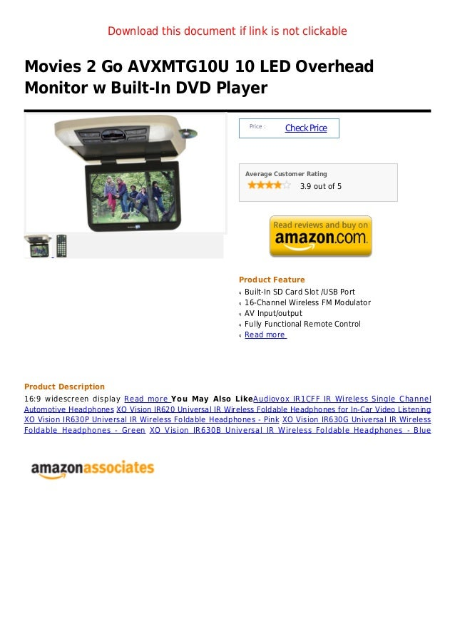 Download this document if link is not clickableMovies 2 Go AVXMTG10U 10 LED OverheadMonitor w Built-In DVD Player         ...