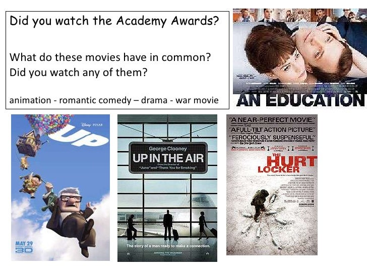 DidyouwatchtheAcademyAwards?<br />What do thesemovieshave in common? Didyouwatchanyofthem?<br />animation - romanticcomedy...
