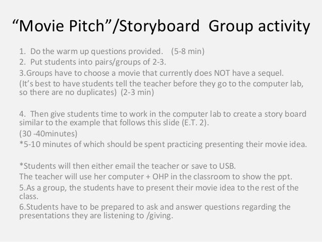 Movie Storyboard Movie Sequels Esl Group Activity