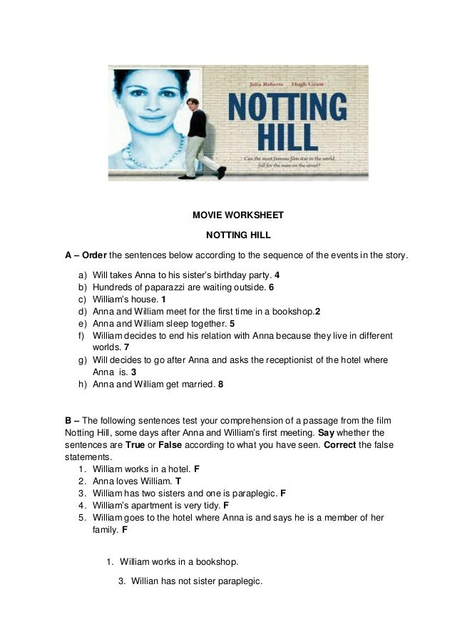 MOVIE WORKSHEET NOTTING HILL A – Order the sentences below according to the sequence of the events in the story. Will take...