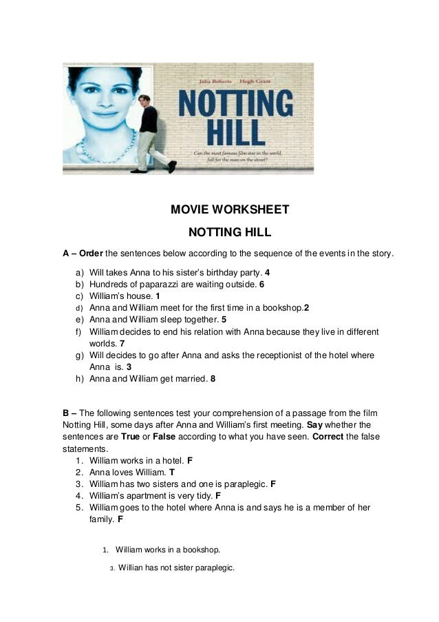 MOVIE WORKSHEET NOTTING HILL A – Order the sentences below according to the sequence of the events in the story. a) Will t...