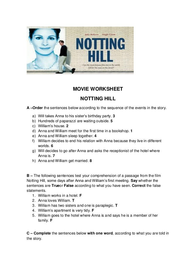 MOVIE WORKSHEET NOTTING HILL A –Order the sentences below according to the sequence of the events in the story. Will takes...