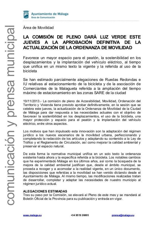 comunicación y prensa municipal  Área de Movilidad  LA COMISIÓN DE PLENO DARÁ LUZ VERDE ESTE JUEVES A LA APROBACIÓN DEFINI...