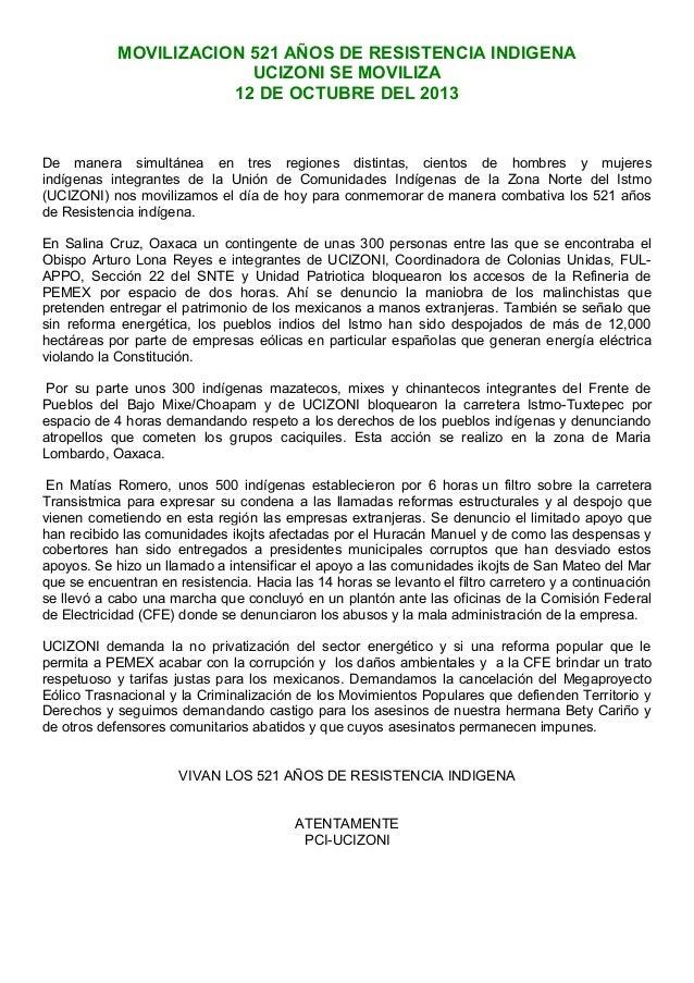 MOVILIZACION 521 AÑOS DE RESISTENCIA INDIGENA UCIZONI SE MOVILIZA 12 DE OCTUBRE DEL 2013  De manera simultánea en tres reg...