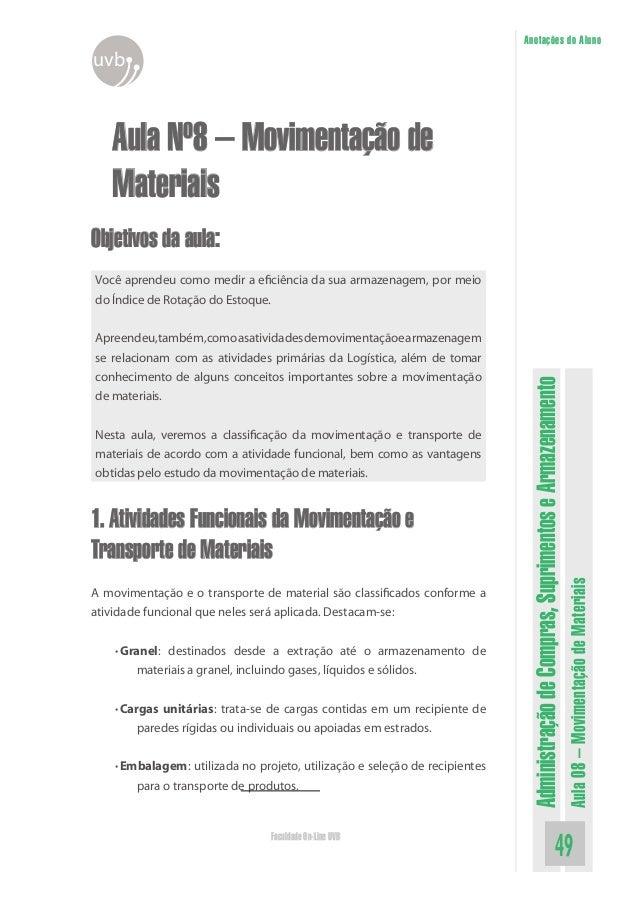 AdministraçãodeCompras,SuprimentoseArmazenamento Aula08–MovimentaçãodeMateriais 49Faculdade On-Line UVB Anotações do Aluno...