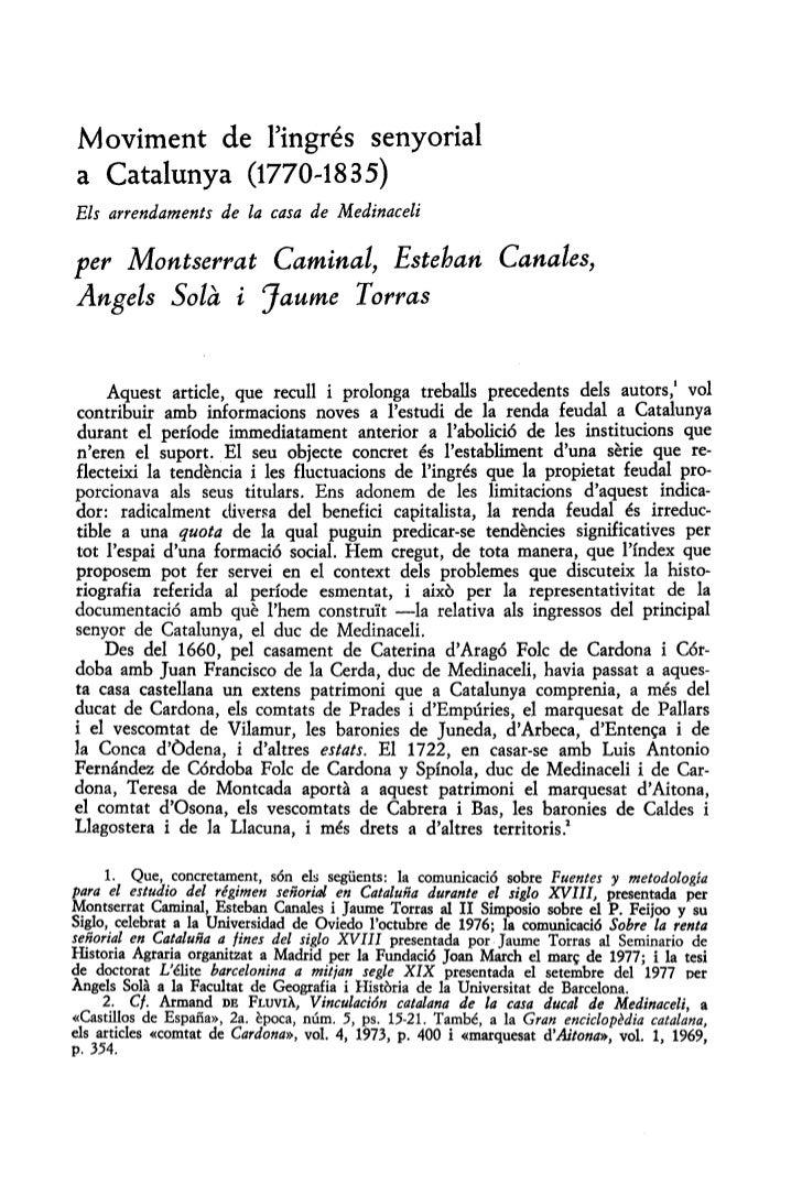 Moviment de lingrés senyoriala Catalunya (1770-1835)Els arrendaments de la casa de Medinaceliper Montserrat Caminal, Esteh...