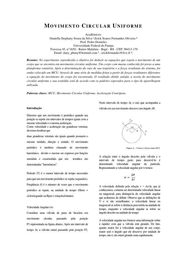 MOVIMENTO CIRCULAR UNIFORME                                               Acadêmicos:                    Daniella Stephany...